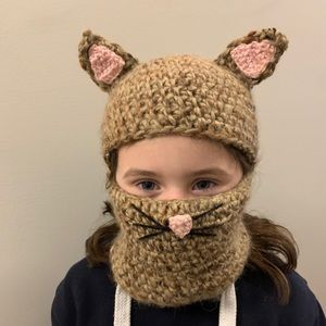 🐱 Kids Kitty Cat Winter Hat/Face Mask 🐱